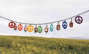 these flags come in three five and ten foot strands and include seven recycled metal peace signs peace flags are available either in an assortment of 7