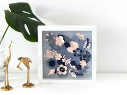 zoom on 3d paper flower shadow box wall art with spring flowers papercut spring decor flowers for wall paper