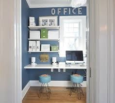 office backdrop. Attractive Blue Office Decor View In Gallery Small Home Design With  Sleek Shelves White Office Backdrop