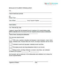 Medical Record Release Letter Medical Records Release Form Free Forms Generic Template Of
