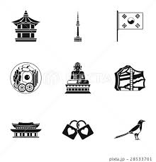 Tourism In South Korea Icons Set Simple Styleのイラスト素材