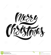 Merry Christmas Hand Drawn Calligraphy Text Holiday Typography