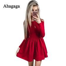 Ahagaga 2019 Spring Dress <b>Women</b> Fashion Solid Red Black <b>O</b> ...