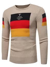 2018 Graphic Color Block Print Pullover Sweater Khaki L In