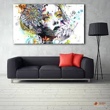 large contemporary wall art large canvas painting modern wall art girl with flowers oil painting printed