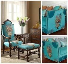 luxurious american style fl turquoise bouquet design chenille intended for upholstery fabric sofa idea 18