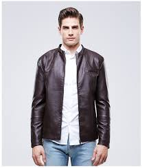 black brown red autumn winter pu jacket for men slim fit faux leather jacket mens warm fleece leather biker jacket and coat in faux leather coats from men s