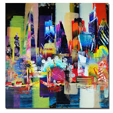 modern abstract oil painting abstract art wall pictures city of london skyline canvas print poster for