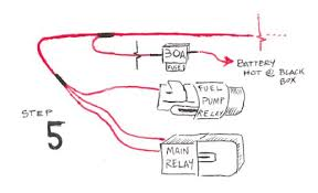 3 wiring harness step 5 splice 3 large yellow wires from ignition fuel pump relay to 30a fuse to battery hot