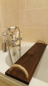 solid pine bathtub caddy over bath tray rack bath bridge handmade wooden with rope handles clawfoot tub wine glass shampoo tablet phone book holder