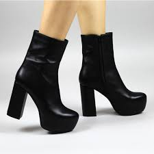 hannah black faux leather high platorm block heel ankle boots