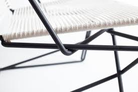 cr45 is a cantilevered chair made from steel rod and sash cord cantilever chairs are usually made from hollow tubing or a larger stock of material
