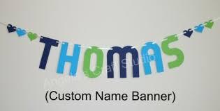 navy green blue custom name banner