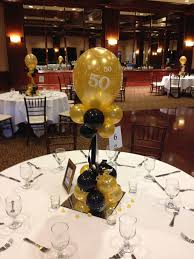 black and gold balloon centerpieces for a 50th birthday or design ideas of table decorations for