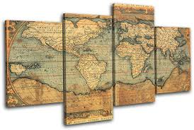 >wall art top 10 best pictures vintage map wall art antique map art  4 panel brown simple vintage world map wall art unique atlas flags multi canvas wooden panels