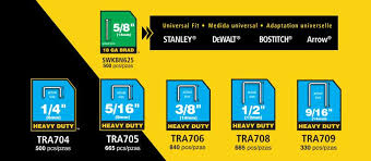 Arrow Staple Size Chart Stanley Tra700bn Heavy Duty Staple Brad Assortment 2500