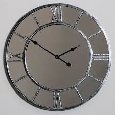 large mirrored skeleton style wall clock with roman numerals windsor browne