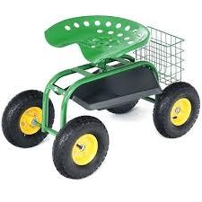 step2 garden kneeler seat rolling garden cart work seat with heavy duty tool tray gardening planting