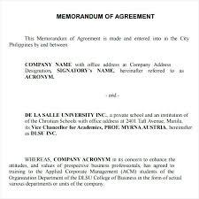 Credit Memo Letter Awesome Example Of Memorandum Understanding Between Two Companies And Sample