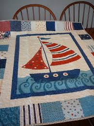 108 best Sailboat Quilt Ideas images on Pinterest | Beach house ... & Sailing Ship Baby Quilt in Blue and Red Nautical and by shancee @ etsy Adamdwight.com