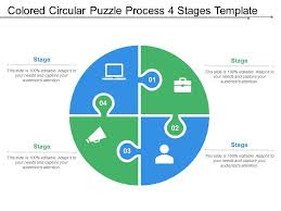 Coloured Circular Puzzle Process 4 Stages Template