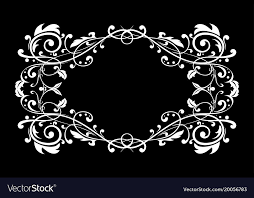 Black vintage frame design Crest Vectorstock Floral Ornament On Black Background Vintage Frame Vector Image