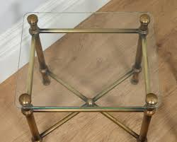 antique pair of art deco brass glass side tables circa 1920 yolagray