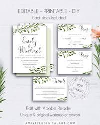 Printable Wedding Invitation Printable Rustic Wedding Invitations Amistyle Digital Art