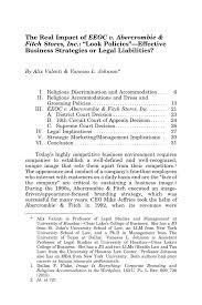 Pdf The Real Impact Of Eeoc V Abercrombie Fitch Stores