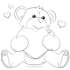 teddy bear with heart coloring pages