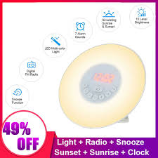 2018 premium intelligent sensor mushroom shaped led night light bedside lamp with digital alarm clock