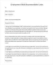 Recommendation Letter For A Employee Employment Letters Of