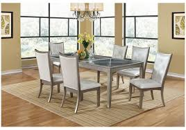 Glass top dining sets Rectangular 7pc Glass Top Dining Set With Tuffed Back Chairs Zoom Furniture Stores Brampton On 7pc Glass Top Dining Set With Tuffed Back Chairs