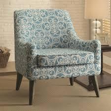 Blue Pattern Accent Chair Adorable Vintage Inspired Blue Pattern Fabric Accent Chair By Coaster 48