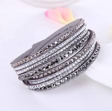 2016 New Leather Bracelet Rhinestone Crystal Bracelet Wrap ...