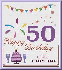 50th Birthday Cross Stitch Pattern Customizable Pdf Chart Personalized Happy Birthday Card