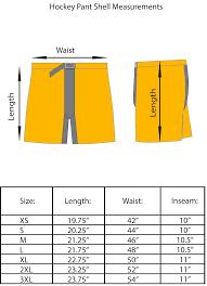 Bauer Goalie Pants Size Chart Hockey Pant Shell Sizing Chart Tour Hockey Sizing Chart