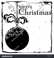 Merry Christmas Card Black White Vintage Stock Vector Royalty Free