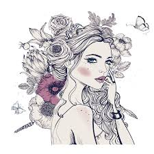 coloring book woman drawing erfly flower headdress woman 1000 1000 transp png free visual arts fashion ilration flower