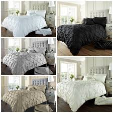 details about alford diamond pintuck luxury double king super king duvet quilt cover set