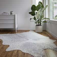 clayton grey silver faux cowhide rug 6 2 x 8 faux calfskin rug