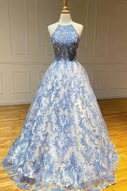 2020 Blue <b>high neck tulle</b> lace <b>long</b> prom dress blue lace evening ...