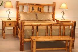 Pine Log Bedroom Furniture Custom Bed