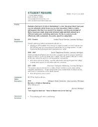 Resume For Students Sample Of Resume For Students Resume Templates College Student