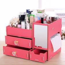 fashion diy wood cosmetic organizer with mirror tissue box 31 21 23cm women makeup