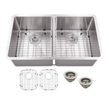 schon all in one undermount stainless steel 32 in double bowl kitchen sink scra505016 the home depot