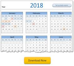 Calendar Excel Template 2018 Calendar Daily Planner Excel Templates Free Downloads