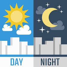 night clipart. Contemporary Night Day And Night Vector Illustration In Flat Style Intended Night Clipart I