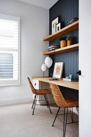 Like : dark paneled wall w natural wood shelves.Study perfection. Designed  and styled. Home Office DesignOffice Table ...