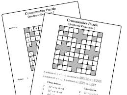 crossnumber puzzle quadratic equation 2 by mistercorzi1 teaching resources tes